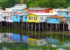 Castro, Chile - Wikipedia, the free encyclopedia Sur Chile, Southern Cone, Colourful Buildings, South America, Tourism, Spanish, Beautiful Places, Architecture, House Styles