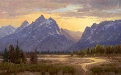 Heavens Ablaze: Landscape art giclee print reproduction on canvas of Grand Teton National Park by landscape artist and painter Jim Wilcox