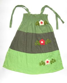Girl's cotton dress or skirt-medium size-3 to 6 years old dress, handmade with embroidered flowers on Etsy, $27.00