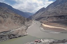 Confluence of Zanskar & Indus rivers, from where Indus proceeds to Pakistan. Rivers, Pakistan, Natural Beauty, Scenery, Mountains, Landscape, Nature, Travel, Outdoor