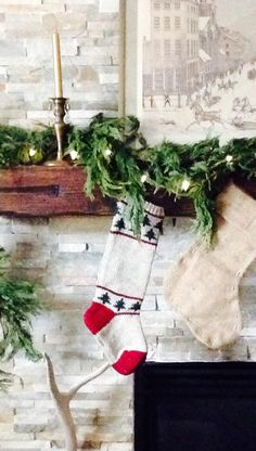 Stockings from #Goodwill on my mantel. #thrift #decor #home #style