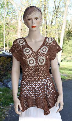 Wild Wood Crochet Mini Dress Tunic by CasadeAngelaCrochet on Etsy, $79.00