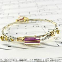 Guitar String bangle purple glass beads wire wrapped GSB92   MartieRocco - Jewelry on ArtFire