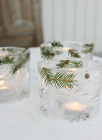 Ice Candle Glass - Home Decorating Trends - Homedit Christmas Holidays, Christmas Crafts, Xmas, Ice Ice Baby, Oil Lamps, Candle Making, Lanterns, Candles, Table Decorations
