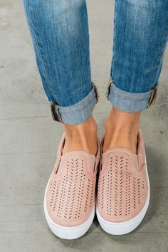 cute pink blush slip on tennis shoes