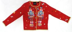 Michael Simon Christmas Sweater Nutcracker Red Sparkling Beads Size S Cardigan