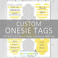 CUSTOM Printable Baby One-Piece Onesie Tags for Baby Shower Prizes, Favors by thelittledabbler