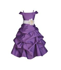 Purple Flower Girl Dress Spaghetti Strap Cap Sleeve tie sash pageant wedding bridal recital children toddler size 2 4 6 8 10 12 14 16 #844TF