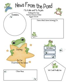 News From the Pond Frog Theme Classroom, Classroom Decor Themes, Future Classroom, Classroom Organization, Classroom Ideas, Kindergarten Rocks, Kindergarten Classroom, School Classroom, Classroom Newsletter