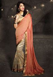 Old Rose and Beige Art Silk Jacquard and Art Silk Saree with Blouse
