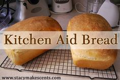 Kitchen Aid Mixer Bread 2 packs yeast (or 4 teaspoons) 2 teaspoons salt 1/3 cup coconut oil 1/3 cup honey 2 eggs 2 cups warm water 6 ½ cups bread flour or white wheat flour (I use white wheat)