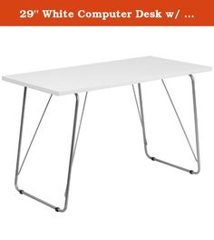 29'' White Computer Desk w/ Silver Frame & White Laminate Finish (1 Desk) - FF-NAN-JN-2956-WH-GG. Contemporary Design with White Laminate Finish and Spacious Rectangular Desktop. Silver Powder Coated Frame Finish and Plastic Floor Glides.