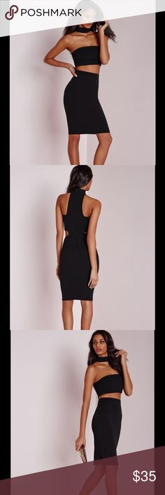 New dress get the look this weekend in this super effortless sexy little black dress. with elegant midi length in a figure flattering black fabric this cut out middle number is flawless. with high neck and cut out top details you can ensure all eyes are on you. 95% polyester 5% elastane Dresses Midi