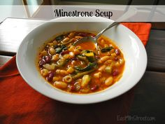 Hearty vegetarian minestrone soup - perfect for those crisp fall days http://east9thstreet.com/2012/09/15/hearty-minestrone-soup-recipe/