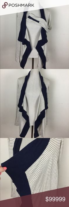 "🆕Liz Claiborne Striped Waterfall Cardigan Great condition. Button detail on sleeves are functional. Open cardigan but shoulder seam to seam on the inside is about 15.5"" across. Length about 25"" not including collar Liz Claiborne Sweaters Cardigans"