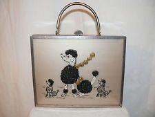 VTG.1950 Empress  Chrome Beaded Poodle Lucite Box  Bag Clutch Handbag Purse