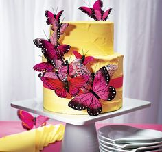Butterfly Cake Decorations - pink