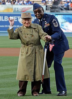Oldest Woman Veteran Throws Out 1st Pitch--102 yrs old, a WWII Army veteran, and a Romanian immigrant who left Romania at the start of WWI. LOVE IT! ~