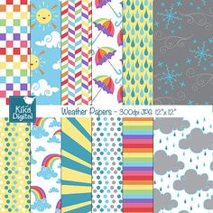 Weather Digital Papers - Rainbow Digital Scrapbooking Papers - card design, invitations, background - INSTANT DOWNLOAD