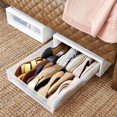 shoe storage Under Bed Storage Drawers - Underbed Drawer Laundry Room Storage, Closet Storage, Storage Drawers, Diy Storage, Closet Organization, Storage Shelves, Under Bed Shoe Storage, Under Bed Storage Containers, Closet Drawers
