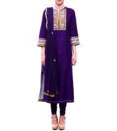 Purple Raw Cotton Silk & Net Kurta With Churidars & Dupatta #indianroots #ethnicwear #churidarkurta #dupatta #cotton #silk #net #occasionwear #summerwear #eveningwear
