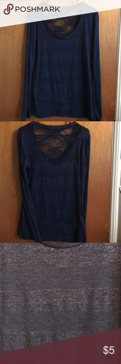 Log sleeve blouse Like new, beautiful blue with silver. Back is lace, see pic 2. Ultra Flirt Tops Blouses