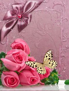 By Artist Unknown. Butterfly Images, Butterfly Fairy, Butterfly Wallpaper, Purple Butterfly, Butterfly Flowers, Flowers Gif, Beautiful Rose Flowers, Beautiful Gif, Beautiful Butterflies