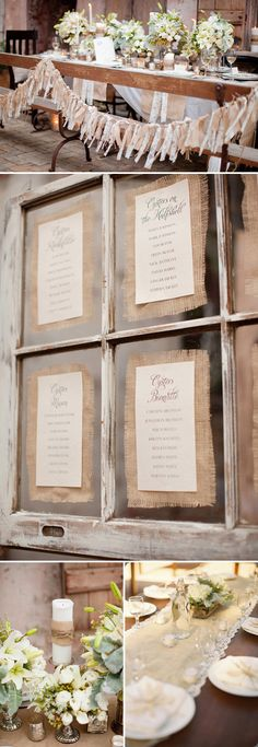 Hessian/Burlap table decor.....I like the burlap menus - I could glue burlap around the mini chalkboards on buffet - also like the mix of candle sticks - I have silver - get mccarty from friends mix it all up w/inexpensive flowers