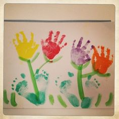 Hand Print Tulips and Footprint pots they grow in for a Art Activity for April based in the Springtime.