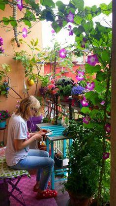 Plants on balcony, apartment balcony garden, small balcony decor, patio balcony Small Balcony Garden, Terrace Garden, Small Patio, Balcony Ideas, Balcony Plants, Balcony Flowers, Small Balconies, Balcony Gardening, Patio Ideas