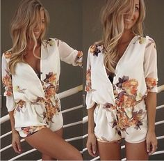 Cheap Dresses, Buy Directly from China Suppliers:2015 Summer beach style white deep sexy v-neck full sleeves  jumpsuit women's blue printed summer cool casual Cotton Pri