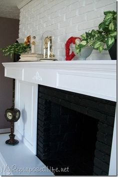 Beautiful fireplace makeover - add shelving built in next to our off center fireplace ? Fireplace Update, Brick Fireplace Makeover, Cozy Fireplace, Fireplace Remodel, Fireplace Ideas, Off Center Fireplace, Diy Home Improvement, Home Remodeling, New Homes