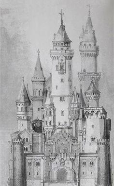 Architecture Drawings, Historical Architecture, Disney Castle Drawing, Castle Sketch, Pencil Art Drawings, Drawing Sketches, Dark Castle, Building Drawing, Neuschwanstein Castle