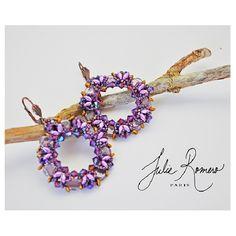 Boucles d'oreilles violettes avec perles superduo miniduo honeycomb par Julie Roméro