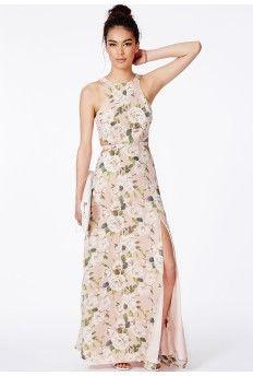 Editha Cut Out Split Maxi Dress In Floral Print