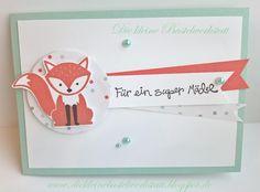 Stampin Up Stempelset Foxy Friends Farben Calypso und Aquamarin Designerpapier