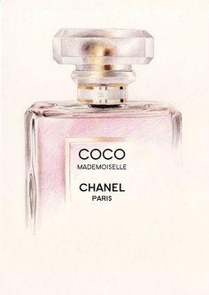 Tendance parfums Coco Mademoiselle Perfume Bottle A5 Colour by DominiqueKirkby 10.00