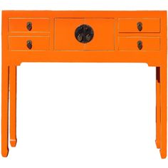 Chinese Bright Orange Narrow Console Table ❤ liked on Polyvore featuring home, furniture, tables, accent tables, narrow furniture, handcrafted furniture, colored furniture, chinese table and handmade furniture