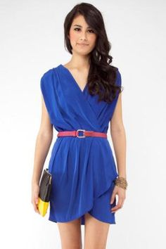 New Colors on the Block Belted Dress in Royal :: tobi