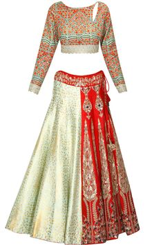 Mint green and red digital printed floral embroidered lehenga set available only at Pernia's Pop Up Shop.#perniaspopupshop #shopnow #anjumodi#bajiraomastani #bajiraomastanithefilm#partyseason #happyshopping #designer #clothing