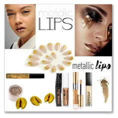 """""""Shine on: Metallic Lips"""" by ludmyla-stoyan ❤ liked on Polyvore featuring beauty, Christian Dior, NYX, Yves Saint Laurent, Armour, In Your Dreams, Gucci, metallic, lips and glitter"""
