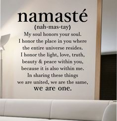 namaste definition quote Wall Decal namaste Vinyl Sticker Art Decor Bedroom Design Mural home decor room decor trendy modern yoga peace love by StateOfTheWall on Etsy https://www.etsy.com/listing/237136509/namaste-definition-quote-wall-decal