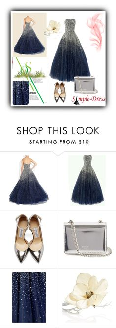 """""""Simple-dress 1"""" by aida-1999 ❤ liked on Polyvore featuring Jimmy Choo, Rochas, Holiday Lane, women's clothing, women's fashion, women, female, woman, misses and juniors"""
