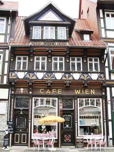 Cafe Wien, Wernigerode, Saxony-Anhalt, Germany Too Disneyland Europe Centrale, Saxony Anhalt, Café Bar, Voyage Europe, Cities, Shop Fronts, Shop Around, Central Europe, Germany Travel