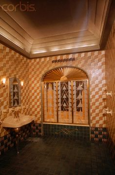 Art Deco Bathroom of Chanin Building, New York - AH001532 - Rights Managed - Stock Photo - Corbis