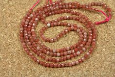 Pink Muscovite Round Beads - Faceted Opaque Gemstone Beads, 16 inch strand