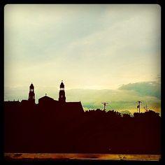 Church Steeples on Detroit Morning Skyline from I-94