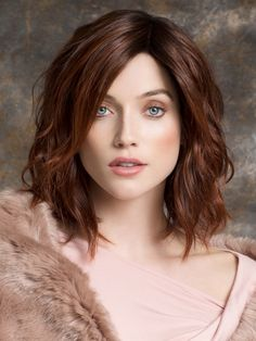 Spirit Is a Sophisticated Mid Length Bob | Color: Auburn Rooted