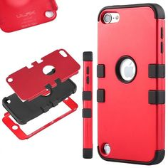 Amazon.com: iPod Touch 5 case,ULAK® Hybrid 3 Layer Hard Case Cover with Soft Shell Inside Case for Apple iPod Touch Generation 5 (Red/Black): Electronics