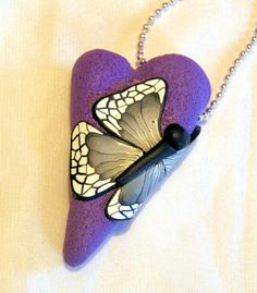 Heart with butterfly - Polymerclay by KVJ